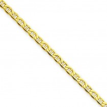 14k Yellow Gold 10 inch 2.40 mm Lightweight Anchor Ankle Bracelet