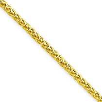14k Yellow Gold 16 inch 2.00 mm Light Wheat Choker Necklace