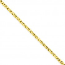 14k Yellow Gold 10 inch 2.00 mm Light Wheat Ankle Bracelet