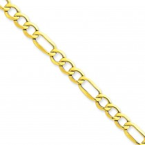 14k Yellow Gold 7 inch 6.60 mm Light Figaro Chain Bracelet