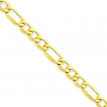14k Yellow Gold 7 inch 7.30 mm Light Figaro Chain Bracelet