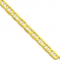 14k Yellow Gold 7 inch 4.50 mm Concave Anchor Chain Bracelet