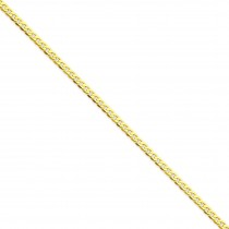 14k Yellow Gold 7 inch 2.40 mm Flat Beveled Curb Chain Bracelet