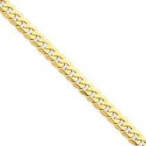 14k Yellow Gold 7 inch 5.75 mm Flat Beveled Curb Chain Bracelet