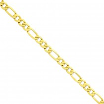 14k Yellow Gold 8 inch 8.75 mm Flat Figaro Chain Bracelet