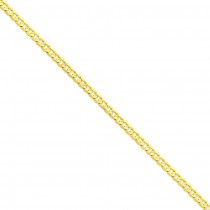 14k Yellow Gold 7 inch 5.25 mm Open Concave Curb Chain Bracelet