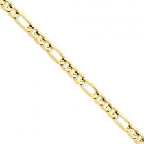 14k Yellow Gold 7 inch 6.00 mm Concave Open Figaro Chain Bracelet