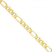 14k Yellow Gold 8 inch 8.75 mm Concave Open Figaro Chain Bracelet