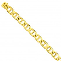 14k Yellow Gold 8 inch 13.00 mm Hand-polished Link Chain Bracelet