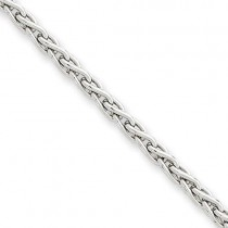 14k White Gold 7 inch 3.00 mm Parisian Wheat Chain Bracelet