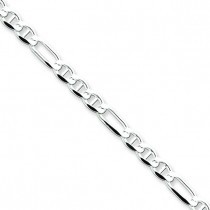 Sterling Silver 8 inch 3.75 mm Figaro Chain Bracelet