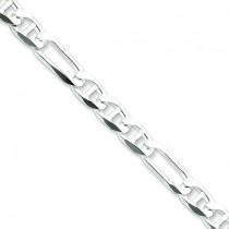 Sterling Silver 7 inch 6.50 mm Figaro Chain Bracelet