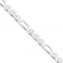 Sterling Silver 8 inch 8.75 mm Figaro Chain Bracelet