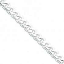 Sterling Silver 7 inch 8.00 mm  Curb Chain Bracelet