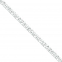 Sterling Silver 7 inch 7.00 mm Pave Curb Chain Bracelet