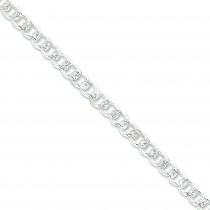 Sterling Silver 7 inch 7.50 mm Pave Curb Chain Bracelet