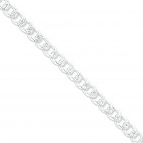 Sterling Silver 8 inch 8.00 mm Pave Curb Chain Bracelet