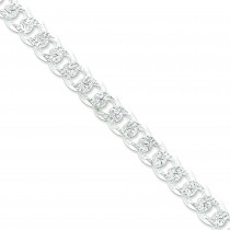 Sterling Silver 8 inch 10.50 mm Pave Curb Chain Bracelet