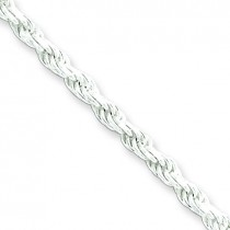 Sterling Silver 7 inch 2.75 mm Diamond-cut Rope Chain Bracelet