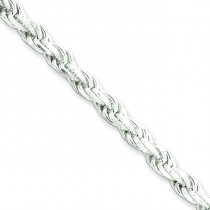 Sterling Silver 8 inch 4.25 mm Diamond-cut Rope Chain Bracelet