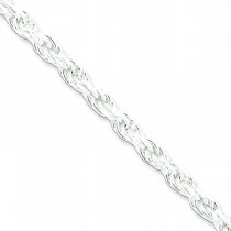 Sterling Silver 7 inch 4.25 mm Diamond-cut Rope Chain Bracelet