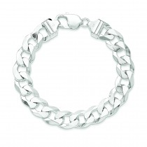 Sterling Silver 8 inch 12.30 mm Beveled Curb Chain Bracelet