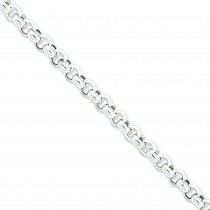 Sterling Silver 7 inch 7.75 mm  Rolo Chain Bracelet