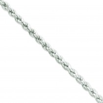 Sterling Silver 7 inch 6.40 mm Hollow Rope Chain Bracelet