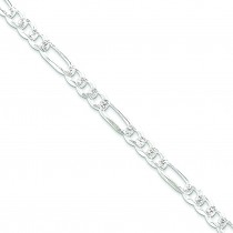 Sterling Silver 7 inch 7.25 mm Pave Figaro Chain Bracelet