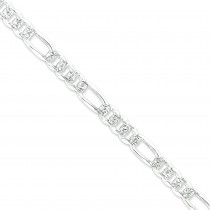 Sterling Silver 7 inch 8.00 mm Pave Figaro Chain Bracelet