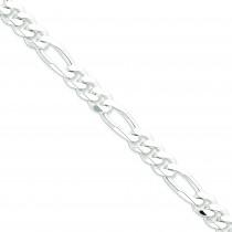 Sterling Silver 8 inch 9.00 mm  Figaro Chain Bracelet