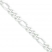 Sterling Silver 8 inch 10.75 mm  Figaro Chain Bracelet
