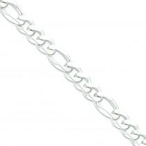 Sterling Silver 8 inch 12.75 mm  Figaro Chain Bracelet