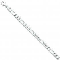 14k White Gold 8 inch 8.00 mm Figaro Link Chain Bracelet