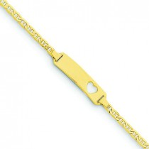 Anchor Link Baby ID, Plate with Cut-out Heart Bracelet in 14k Yellow Gold