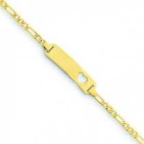 Figaro Link Baby ID, Plate with Cut-out Heart Bracelet in 14k Yellow Gold