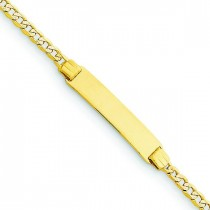 6 Pave Curb Link Child ID Bracelet in 14k Yellow Gold