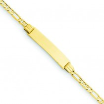 6 Figaro Link Child ID Bracelet in 14k Yellow Gold