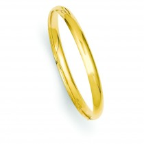 Polished Hinged Baby Bangle Bracelet in 14k Yellow Gold