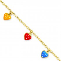 Enameled Heart Adjustable Child Bracelet in 14k Yellow Gold