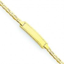 Polished Engraveable Anchor Link Baby Child ID Bracelet in 14k Yellow Gold
