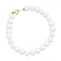 Simulated Pearl Bracelet in 14k Yellow Gold