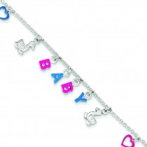 Adjustable Enameled Baby Charm Bracelet in Sterling Silver