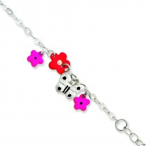 Adjustable Enameled Baby ID Charm Bracelet in Sterling Silver