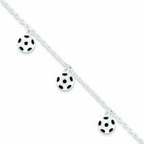 Enameled Soccer Ball Bracelet in Sterling Silver
