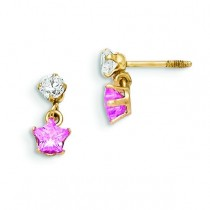 CZ With Dangling Pink CZ Star Earrings in 14k Yellow Gold