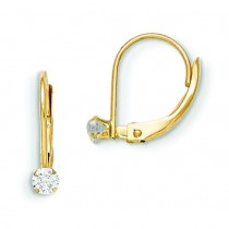 Leverback CZ Earrings in 14k Yellow Gold