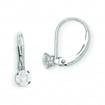 Leverback CZ Earrings in 14k White Gold