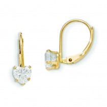 Leverback Heart CZ Earrings in 14k Yellow Gold