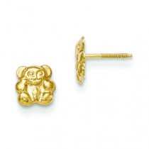 Teddy Bear Screw back Earrings in 14k Yellow Gold